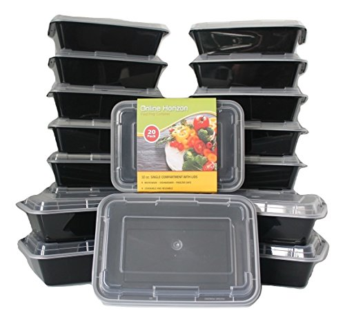 Meal Prep Containers Bento Box - Food Storage Containers with Lids for Meal Prep Lunch and Dinner | Microwave / Freezer Safe | Premium BPA-Free Plastic 20 Pack (32 Oz) - 1 Compartment