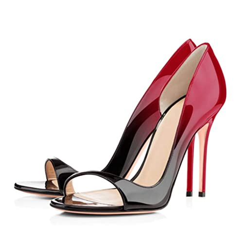 Zapatos Verano Sandalias Sin De Cordones Charol Rojo 76Yfbgy