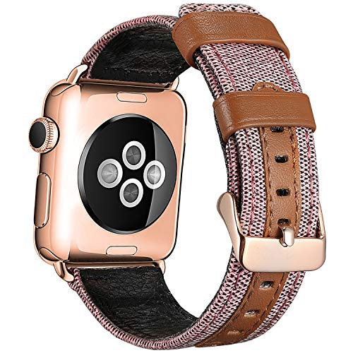 SKYLET Band Compatible with Apple Watch 38mm 42mm 44mm 40mm, Canvas Fabric Genuine Leather Straps with Metal Clasp Compatible with Apple Watch Series 4 Series 2 Series 1 Series 3 Men Women(No Tracker)