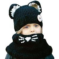 Baby Girls Boys Winter Hat Scarf Earflap Hood Scarves Caps (Black (2-8 years...