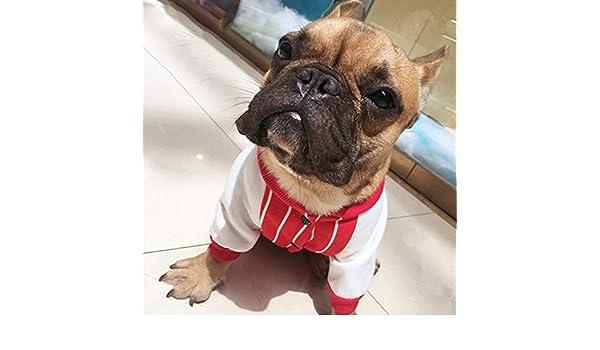 Patrón de Rayas Bulldog francés Ropa para Mascotas Ropa de Perro para Mascotas Cuello de Cuatro Patas Sudaderas para Perros Abrigos Cachorros de algodón ...