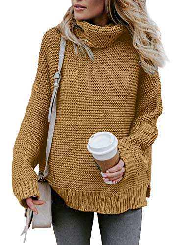 ZKESS Womens Long Sleeve Cable Knit Casual Turtleneck Pullover Chunky Sweater Tops Khaki M 8 10