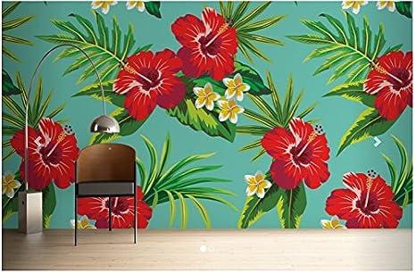Camera Da Letto Parete Turchese : Sproud custom papel de parede floreale turchese hibiscus stampa È