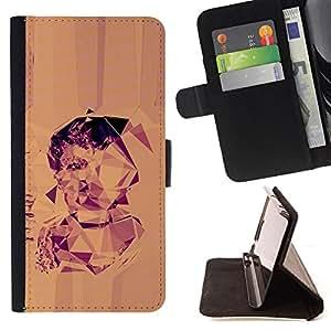 Jordan Colourful Shop - portrait geometrical art drawing man triangle For Samsung ALPHA G850 - < Leather Case Absorci????n cubierta de la caja de alto impacto > -