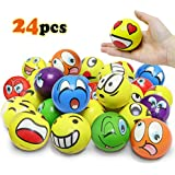 VCOSTORE 2.5 Inches Emoji Stress Balls, 24 Funny Face Squeeze and Bouncy Balls Bulk, Soft Stress Relief Balls Toys for Kids Emoji Party Favor, Goodie Bag Fillers, Office Props for Adults Relax