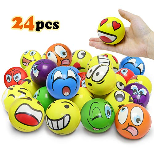 VCOSTORE 3 Inches Emoji Stress Balls, 25 Funny Face Squeeze and Bouncy Balls Bulk, Soft Stress Relief Balls Toys for Kids Emoji Party Favor, Goodie Bag Fillers, Office Props for Adults Relax