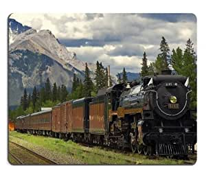 Mountains Trains Locomotives Railroads Scenery Mouse Pads Customized Made to Order Support Ready 9 7/8 Inch (250mm) X 7 7/8 Inch (200mm) X 1/16 Inch (2mm) High Quality Eco Friendly Cloth with Neoprene Rubber MSD Mouse Pad Desktop Mousepad Laptop Mousepads