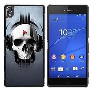 Caucho caso de Shell duro de la cubierta de accesorios de protección BY RAYDREAMMM - Sony Xperia Z3 - Music Skull Pattern