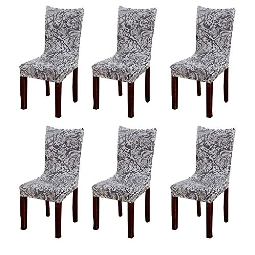 Fuloon Super Fit Stretch Removable Washable Short Dining Chair Protector Cover Seat Slipcover for Hotel,Dining Room,Ceremony,Banquet Wedding Party (6 Per Set, B) (Dining Set Banquet)