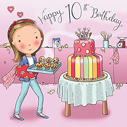 Twizler 10th Tarjeta de cumpleaños para niña con pastel y ...