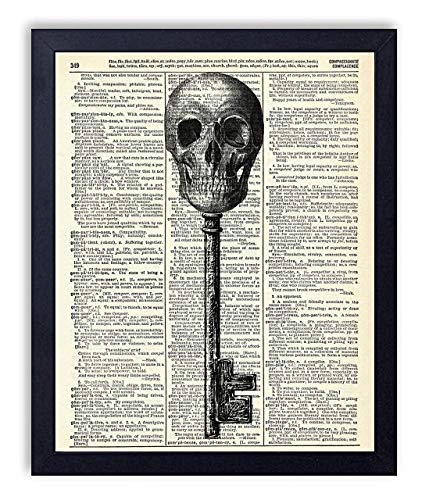 Skeleton Key Vintage Wall Art Upcycled Dictionary Art Print Poster 8x10 inches, Unframed