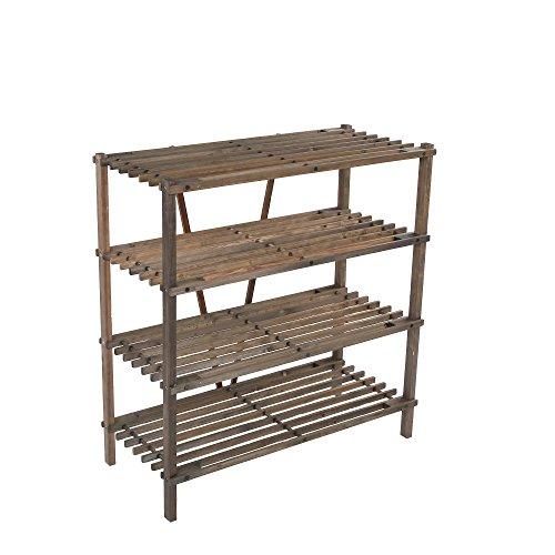 ULTIDECO 4 Tier Wood Shoe Rack Stand Tower Entryway Storage Bench Book Shelf Utility Closet Organizer Display Holder Cabinet Bathroom, Kitchen, Living Room, Bedroom, Carbon Black