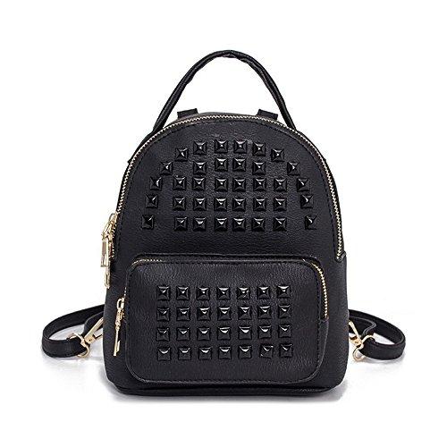 Meaeo Bag Student Backpack Fashion Bag Multi Bag Black Silver