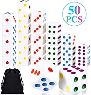 50 Pieces Six Sided Dices 16mm Standard Solid Dice White with Multi-Color Pips Square Corner Dices Set for Boa