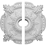 """Ekena Millwork CM28BE2 28 3/8""""OD x 4 1/2""""ID x 1 5/8""""P Benson Classic Ceiling Medallion, Fits Canopies up to 6-1/2"""", 2 Piece"""