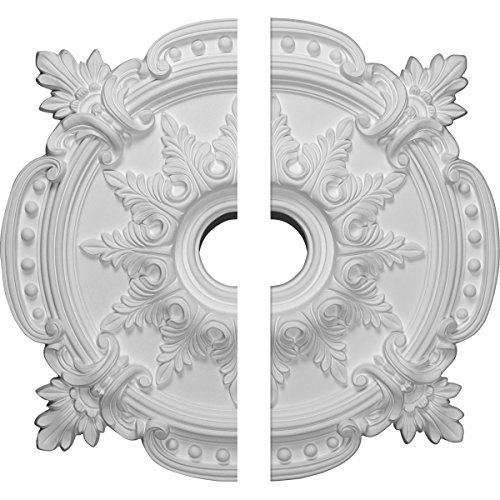"Ekena Millwork CM28BE2 Benson Classic Ceiling Medallion (Fits Canopies up to 6 1/2""), Hand Painted 28 3/8""OD x 3 3/4""ID x 1 5/8""P Factory Primed White"