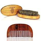UrbanMooch Boar Bristle Beard Brush and Sheesham Wood Comb Combo Set