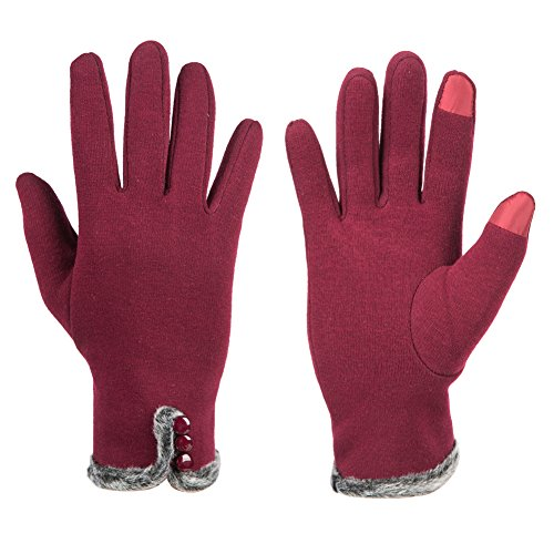 GLOUE Women's Touch Screen Gloves Texting Lined Cashmere Thick Gloves Warm Whether Winter Gloves Driving riding outdoor and indoor fashionable gloves (Red) (Fashion Color Team)