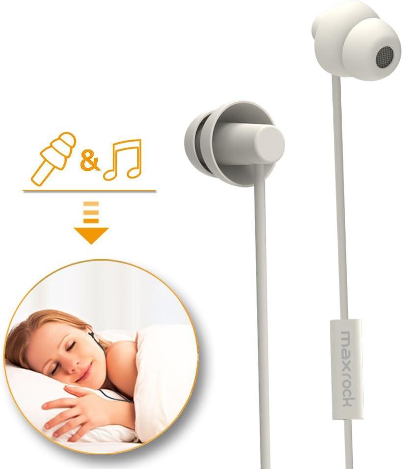 MAXROCK Sleeping Headphones, in-Ear Soundproof Earplug Soft Earbuds with Mic Noise Cancelling Sleep Earphones Earpods for Side Sleeper, Insomnia, Snoring, Air Travel, Bedtime Listening… (White)
