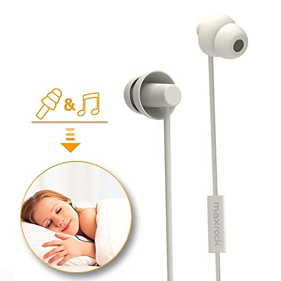 5b08e20ad91 MAXROCK Sleeping Headphones, in-Ear Soundproof Earplug Soft Earbuds with  Mic Noise Cancelling Sleep Earphones Earpods for Side Sleeper, Insomnia,  Snoring, ...