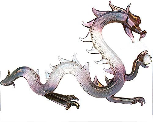Prochaska Gallery Hand Blown Glass Dragon Serpent Figurine with Crystal Ball