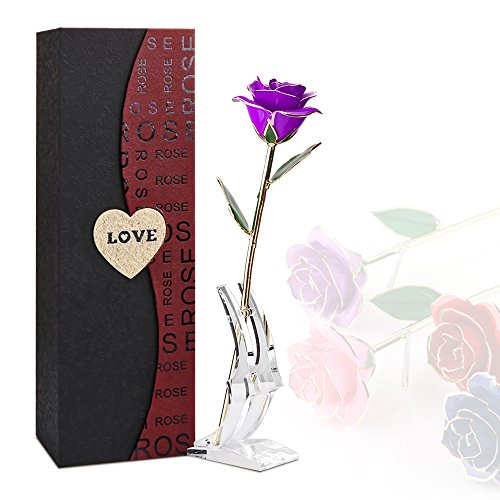Rose Flower, 24K Eternal Golden Plated Rose in Gift Box with Clear Display Stand, Best Gift for Valentine's Day, Mother's Day, Anniversary, Birthday (Purple)