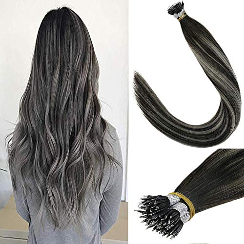 LaaVoo 14 Inch Remy Human Hair Nano Ring Hair Extensions Balayage Color Off Black Fading to Silver Straight Keratin Stick Tip Extensions 1g/s 40g+10g for free,50g/pack in Total
