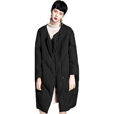 Abrigo largo de la chaqueta de las mujeres, Abrigo de Invierno para Mujer con Capucha Chaqueta Ultraligera Abajo Chaqueta Delgada y Larga sólida Abajo Parkas Hembra,Black,M: Hogar