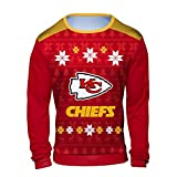 NFL Men's Long Sleeve Shirt with Sublimated Holiday Ugly Sweater Design