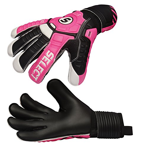 Select 33 All Round Goalkeeper Gloves with Finger Protection, Black/Pink/Cure, Size 7