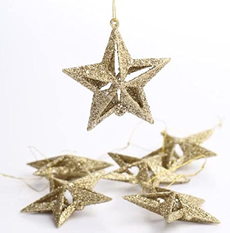 Embellishing and Crafting Factory Direct Craft Package of 48 Holiday Gold Glitter 3D Ornament Stars for Decorating
