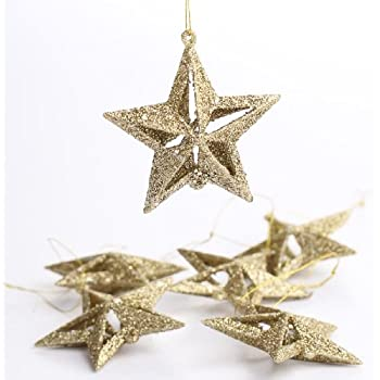 Amazon.com: Package of 48 Holiday Gold Glitter 3d Ornament Stars for ...