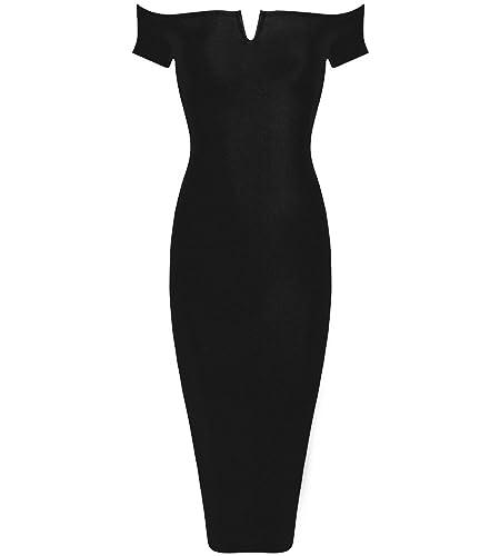 Bqueen Women's Black Off Shoulder Short Sleeve Bandage Bodycon Dress BQ11720