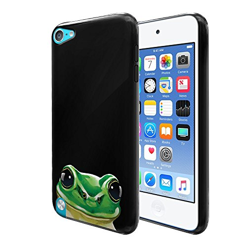 FINCIBO Case Compatible with Apple iPod Touch 5 6, Flexible TPU Black Silicone Soft Gel Skin Protector Cover Case for iPod Touch 5 (5th Generation) iPod Touch 6 (6th Generation) - Green Frog