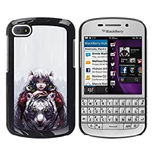 // PHONE CASE GIFT // Duro Estuche protector PC Cáscara Plástico Carcasa Funda Hard Protective Case for BlackBerry Q10 / Tigre Blanco & Girl /