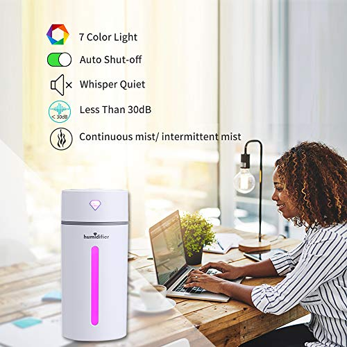 Ohderii 250ml Portable Diamond Cup Aromatherapy Essential Oil Diffuser Ultrasonic Diffusers Cool Mist Humidifier with 7 Colors LED Lights and Waterless Auto Shut-off for Home Off (Diamond White)