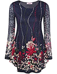 Women's Lace Floral Printed Round Neck Flared Tunic Top