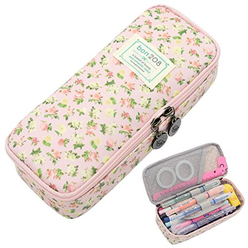 Pencil Case, Twinkle Club Cute Pen Case Zipper Bag Office Organizer Rose Floral Makeup Pouch, -