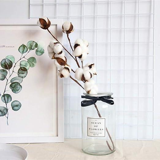 WAINEO Flores de tallo de algodón blanco natural de 21 pulgadas ...