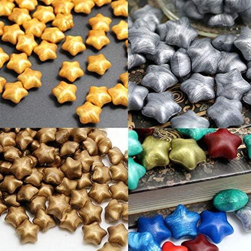 100pcs Vintage Ancient Siegellack Multicolor Lucky Stars Shaped Spezialwachs Schwarz