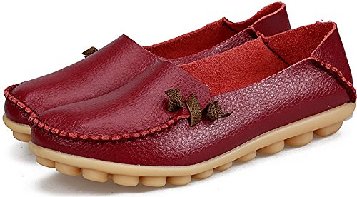 Casual Flats Women's LabatoStyle Leather Moccasins Red Wine Driving Shoes Loafers Yx5wSqd1Pw