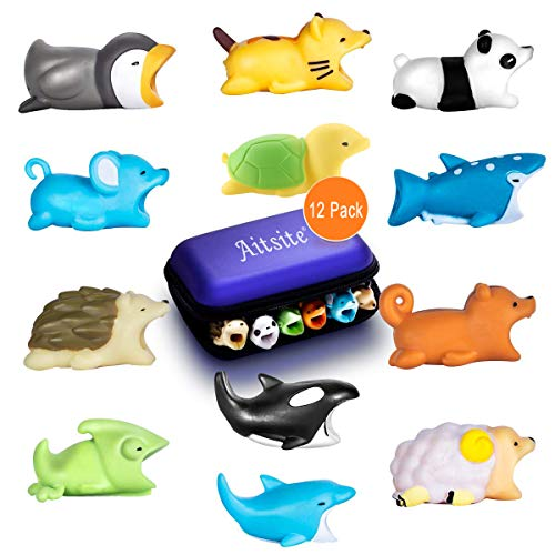 Aitsite 12 Pieces Charger Cable Protector Buddies Animal Cord Protector Saver with Carry Case for iPhone Android Cell Phone Charging Cable