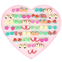 Bewish 36 Pairs Cute Colorful Fresh Fruit Earrings Summer Wear Jewelery Women Girl Gift