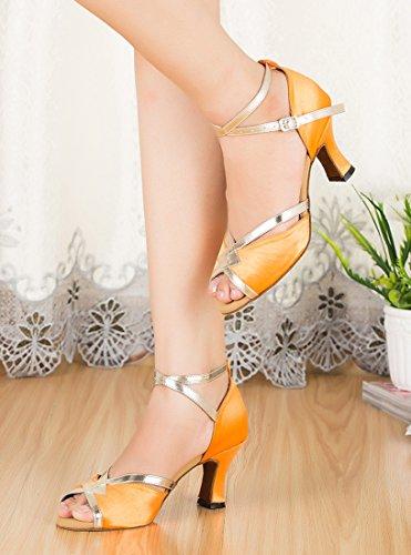 7cm Salón Joymod MGM Mujer Heel De Ornage Satin HF8HqPYwU