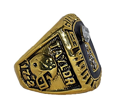 NEW YORK GIANTS (Lawrence Taylor) 1986 SUPER BOWL WORLD CHAMPIONS Vintage Super Bowl XXI Vintage Rare & Collectible High Quality Replica NFL Football Gold Championship Ring with Cherrywood Display Box