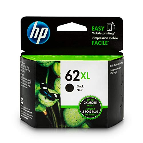 HP 62XL Black Ink Cartridge (C2P05AN) for HP ENVY 5540 5541 5542 5543 5544 5545 5547 5548 5549 5640 5642 5643 5644 5660 5661 5663 5664 5665 7640 7643 7644 7645 HP Officejet 200 250 258 5740 5741 ()