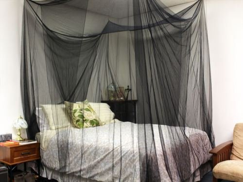 TMS 4  Corner Post Bed Black Canopy Mosquito Net Full Queen