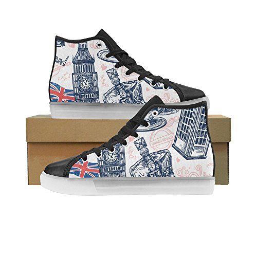 High Top LED Light up Canvas Women's Shoes London with Telephone Booth Big Ben Fashion Sneaker