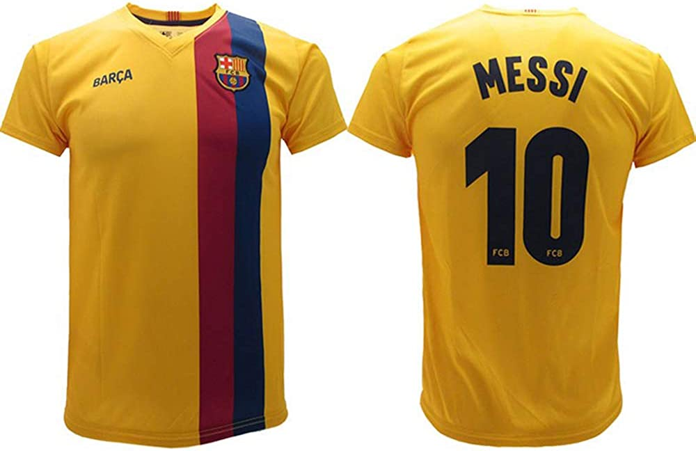 Messi 2020 Barcelona Official Away Jersey 2019 2020 In Blister Uniform Barcelona 10 Child Boy Adult Yellow Amazon Co Uk Clothing