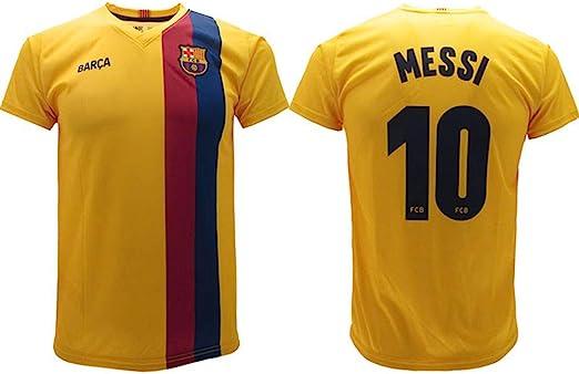 Camiseta Messi 2020 Barcelona oficial Away 2019 2020 en blíster de la divisa de Barcelona 10 niño niño adulto amarillo: Amazon.es: Deportes y aire libre